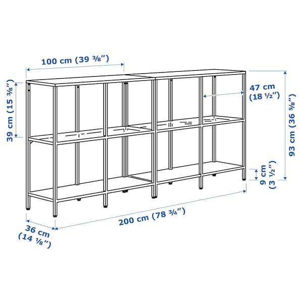 "VITTSJÖ Storage combination, white/glass, 78 3/4x14 1/8x36 5/8 """