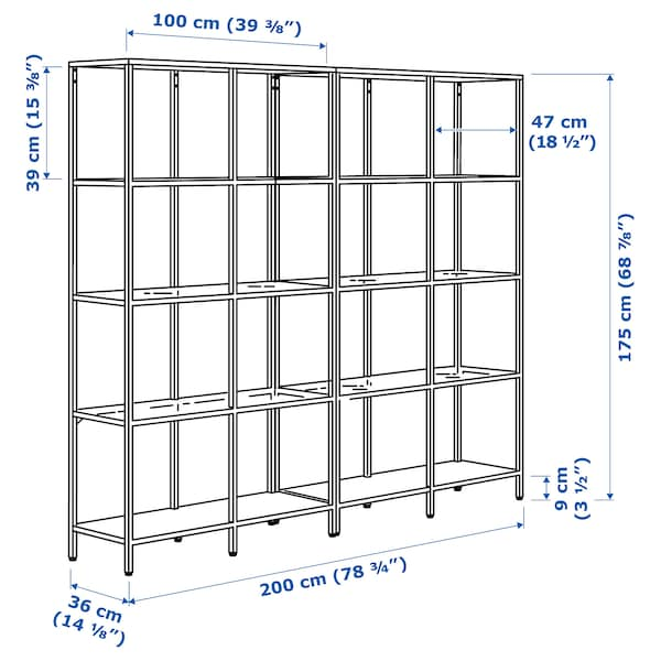 "VITTSJÖ Storage combination, white/glass, 78 3/4x14 1/8x68 7/8 """