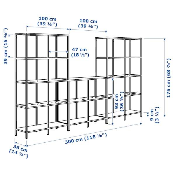 "VITTSJÖ Storage combination, white/glass, 118 1/8x14 1/8x68 7/8 """