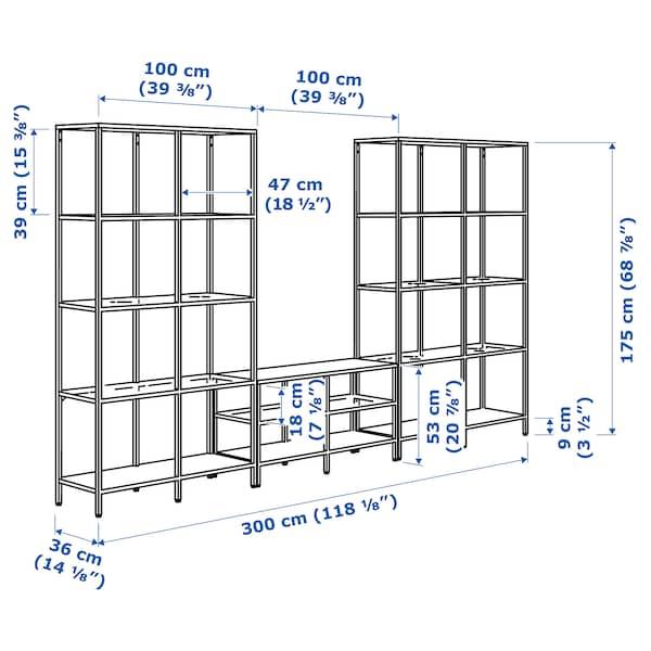 "VITTSJÖ TV storage combination, black-brown/glass, 118 1/8x14 1/8x68 7/8 """