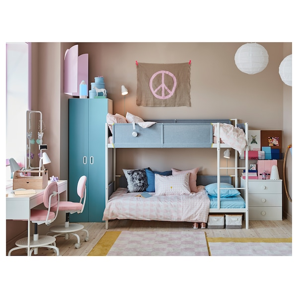 Bunk Bed Frame White Light Gray Twin