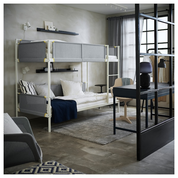 VITVAL Bunk bed frame, white/light gray, Twin