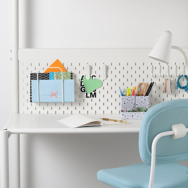 VITVAL Loft bed frame with desk top, white/light gray, Twin