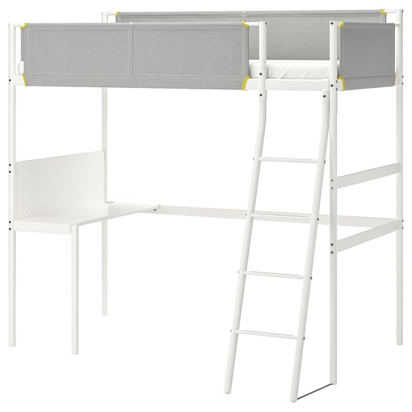 Loft Bed Frame With Desk Top Vitval White Light Gray