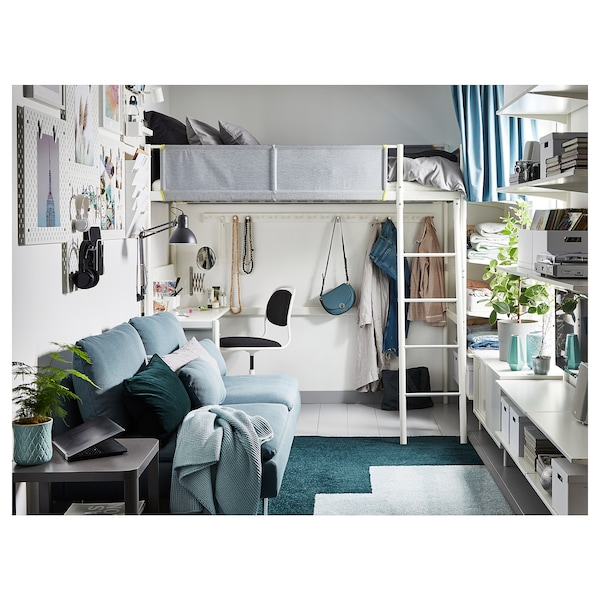 Loft bed frame with desk top VITVAL white, light gray