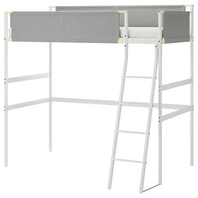 """VITVAL loft bed frame white/light gray 55 1/2 """" 77 1/2 """" 40 1/2 """" 76 3/4 """" 59 """" 220 lb 74 3/8 """" 38 1/4 """" 5 1/8 """""""