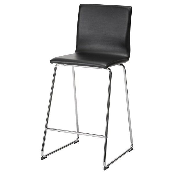 Awe Inspiring Bar Stool With Backrest Volfgang Chrome Plated Bomstad Black Evergreenethics Interior Chair Design Evergreenethicsorg