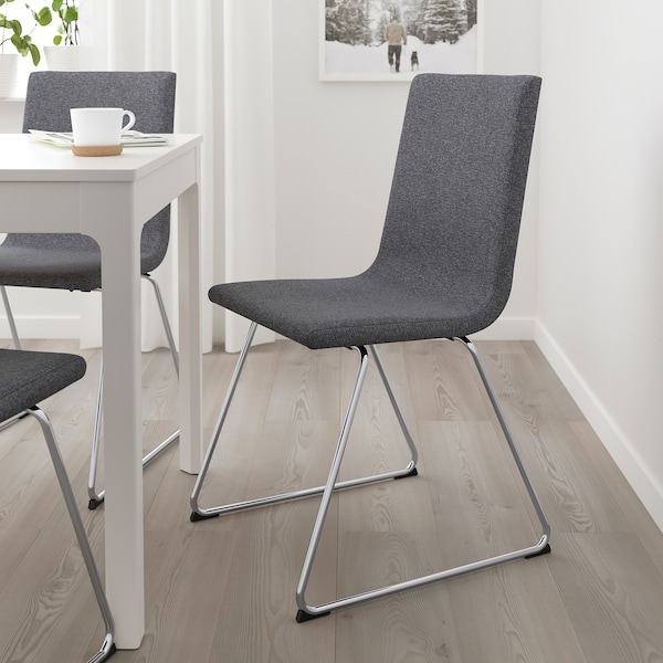 "VOLFGANG chair chrome plated/Gunnared medium gray 243 lb 19 5/8 "" 20 7/8 "" 34 5/8 "" 17 3/8 "" 15 "" 18 7/8 """