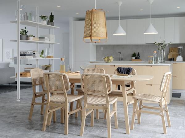 "VOXLÖV Dining table, light bamboo, 70 7/8x35 3/8 """