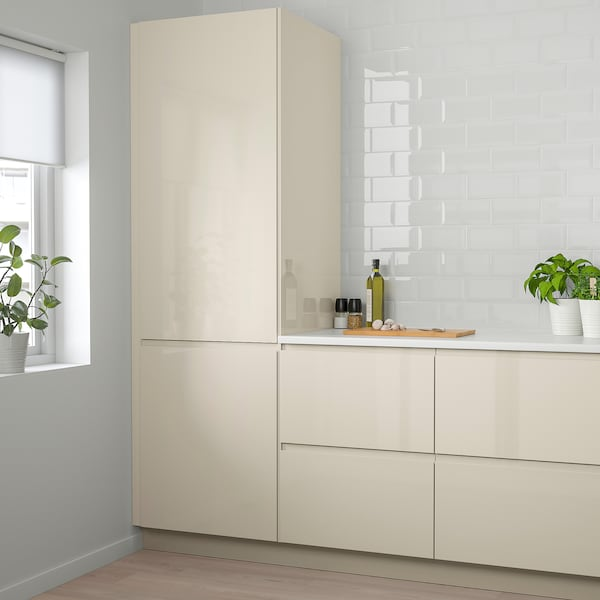 VOXTORP Door, high gloss light beige, 12x40 ""
