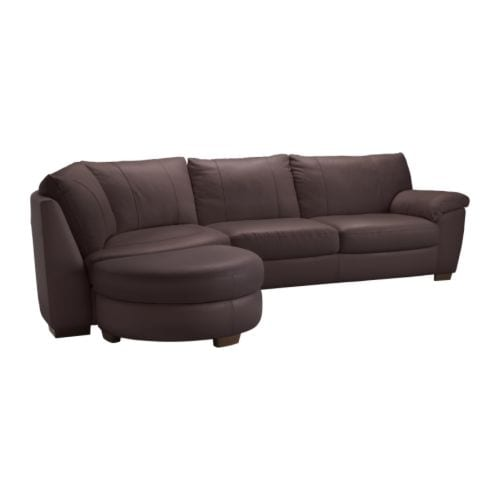 VRETA Corner sofa w end unit left IKEA Seat surfaces and armrests in soft, hardwearing, easy care grain leather; practical for families with children.