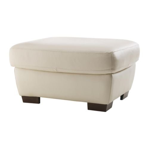 VRETA Footstool IKEA Soft, hardwearing and easy care leather is practical for families with children.  Functions as an extra seat and footstool.