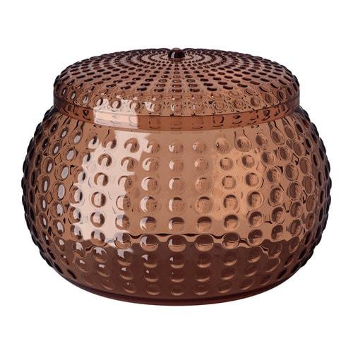"""YNGAREN Jar with lid, brown Diameter: 6 """" Height: 4 """"  Diameter: 14.1 cm Height: 10.4 cm"""