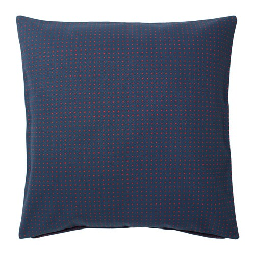 YPPERLIG Cushion cover, dark blue, dotted