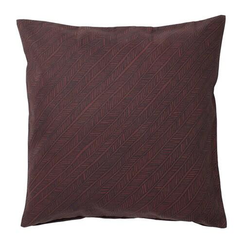 YPPERLIG Cushion cover, dark red, stripe