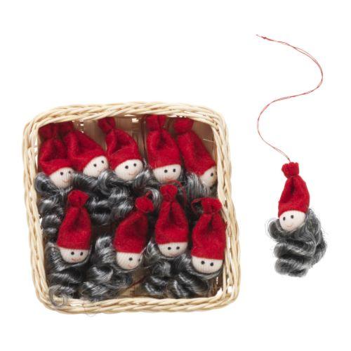 "YRSNÖ Hanging decoration, Santa Claus Height: 2 "" Package quantity: 10 pack  Height: 5 cm Package quantity: 10 pack"