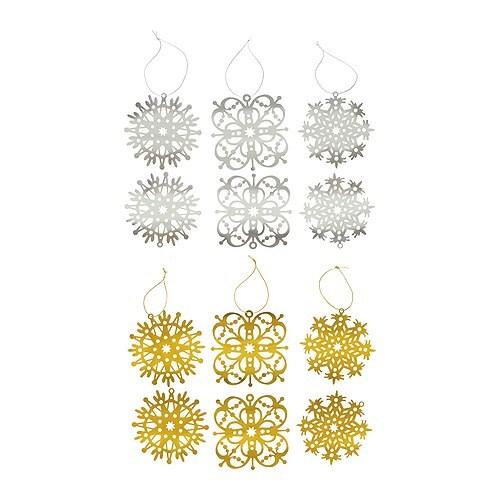 "YRSNÖ Hanging decoration, snowflake, assorted colors Diameter: 3 ¼ "" Package quantity: 6 pack  Diameter: 8 cm Package quantity: 6 pack"